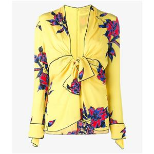 Fashion Yellow Print Blouse for Women, Floral Print Long Sleeve Blouse, Yellow Deep V Neck Pullover Blouse, Women