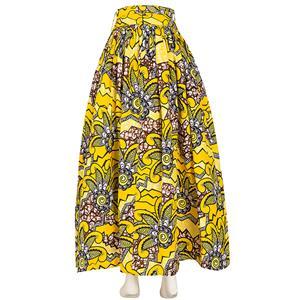 Elegant Skirt for Women, Yellow Print Skirt, Maxi Skirt for Women, Back Zipper Skirt, Cotton Long Skirt, Retro Fashion Skirt, #N15272
