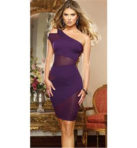Hollow Out One Shoulder Dress, Sexy Semi Opaque Little Purple Dress, Elegant Purple Gauze One Shoulder Package Hip Mini Dress, #N9367