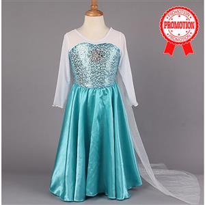 Long Blue Elsa Dress, Frozen Gril  Dress, Elsa Inspired Dress, #N8510