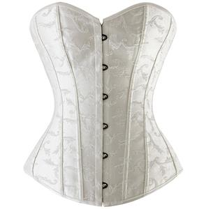 Bridal Embroidered Corset, White Embroidered Corset, Strapless Bridal Overbust Corset, #N8273