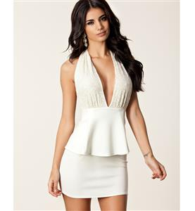Deep Lace V Neck Halter Dress, White Backless Plunge Peplum Dress, Low Cut Peplum Party Dress, #N8789