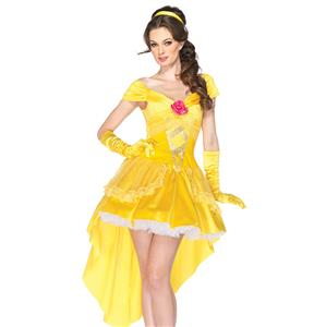 Enchanting Yellow Hi-Lo Off Shoulder Princess Belle Adult Role Play Costume with Gloves N6558
