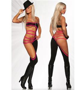 Gogo Cut Out Dancer Catsuit, Black and Pink Erotic Gogo Jumpsuit, Strappy Cut Out Overall Bodysuit, #N9106