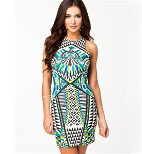 Oneness Front Panel Dress, Stretch Ethnic-print Mini Dress, Vintage Summer Print Sleeveless Dress, #N8345