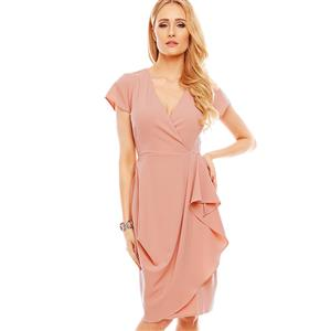 Summer Bodycon Dresses for Women, Pink Bodycon Dress, Falbala Dress for Women, Fashion Dress for Women, Solid Color Dress, Office Lady Bodycon Dress, #N14574