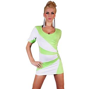 Short sleeves dress, Face Hooded Mini Dress, Green Mini Dress, #N5603