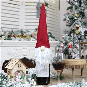 Red Faceless Doll Wine Bottle Cover Plush Toy Christmas Decoration Accessory XT19890