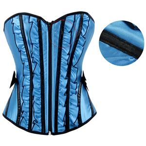 Betty Corset with Support Boning, Ruffle Zipper Corset, Fashion Strapless Corset, #N16406