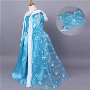 Fashion Blue Cape Outfits, Elegant Snowflake Print Dress , Cheap High Quality Sleeveless Outfits, Fairy Blue Frozen Elsa Cape Costume, #N9809
