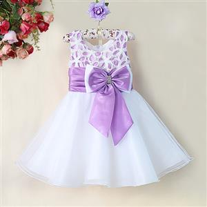 Purple and White Birthday Girl Dress, Sleeveless Applique Work Princess Girl Dress, Mesh and Satin Occasion Dress, #N9091