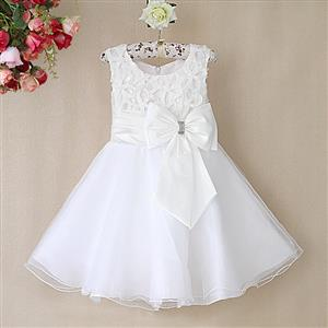 White Birthday Girl Dress, Sleeveless Applique Work Princess Girl Dress, Mesh and Satin Occasion Dress, #N9094