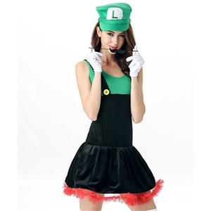 Sexy Halloween Costume, Pretty Plumber Luigi Adult Costume, Fancy Cosplay Dresses, #N11690