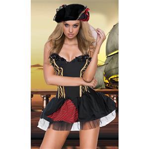 Sexy Pirate Costume, Deluxe Halloween Costume, Pirates Fancy Dress Costume, Cheap Evil Women