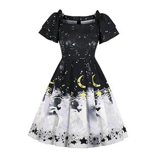 Unicorn and Star Pattern Dress, Vintage Dresses for Women, Sexy Dresses for Women Cocktail Party, Vintage High Waist Dress, Unicorn Fancy Dress, Double Layer Short Sleeves Swing Daily Dress, Vintage Unicorn and Black Stars Printed Swing Dress, #N18342