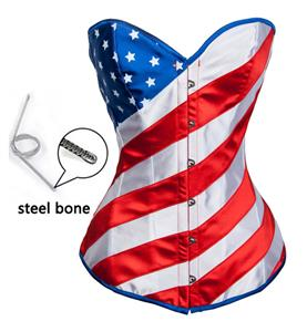 Fashion American Flag Pattern Steel Boned Overbust Corset N10402