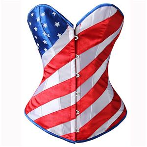 Sexy Steel Bone Overbust Corset, Fashion American Flag Pattern Corset, United State Flag Outerwear Corset, Women