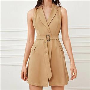 Dating Dress, Fashion Dress for Women, Sexy Dresses for Women, OL Commute Dress, Sleeveless Dress,Turn-down Collar Deep-V Dress,Khaki Dress,Slim Waist Belt Dress, #N20308