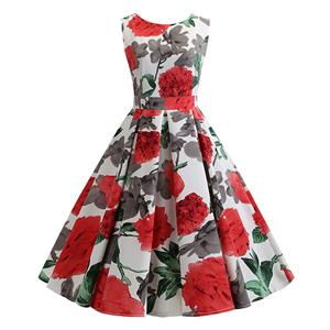 Vintage Dress for Women,Elegant Party Dress,Casual Midi Dress,Sexy Dresses for Women Cocktail Party,Sleeveless High Waist Swing Dress,Fashion Printed Dress,Round Neck Belt Big Swing Dress,#N20426