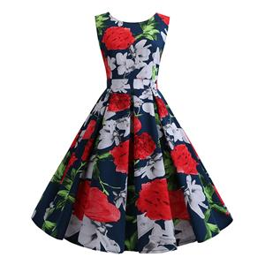 Vintage Dress for Women,Elegant Party Dress,Casual Midi Dress,Sexy Dresses for Women Cocktail Party,Sleeveless High Waist Swing Dress,Fashion Printed Dress,Round Neck Belt Big Swing Dress,#N20428