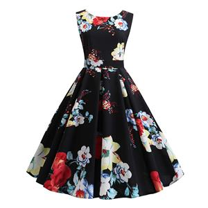 Vintage Dress for Women,Elegant Party Dress,Casual Midi Dress,Sexy Dresses for Women Cocktail Party,Sleeveless High Waist Swing Dress,Fashion Printed Dress,Round Neck Belt Big Swing Dress,#N20429