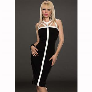 Used Zipper Dress, Back Cross Sleeveless Middle Long Dress, Sexy Back slit to the thigh Dress, #N9313