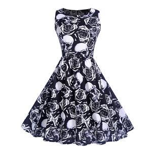 Vintage Dresses for Women, Cocktail Party Dress, Halloween Skull Print Party Dress, Vintage Sleeveless Swing Dresses, A-line Cocktail Party Swing Dresses, Fahion Floral Print Vintage Dress, Round Neck Vintage Day Dress, #N18278