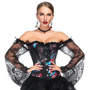 Outerwear Corset for Women, Fashion Body Shaper, Cheap Shapewear Corset, Womens Bustier Top, Steel Boned Corset, Black Corset for Women, Stylish Floral Print Corset, #N18638