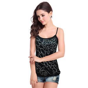 Sexy Black Vest Tops, Beading Top Vest, Cheap Sleeveless T-shirt, Women