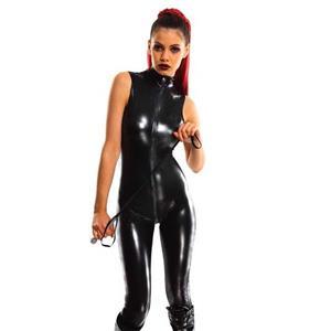 Catsuit for Women Sexy, Cheap Black Bodycon Jumpsuit, Gothic Punk Bodysuit, Faux Leather Catsuit, Wet Look Catsuit Zipper, #N11032