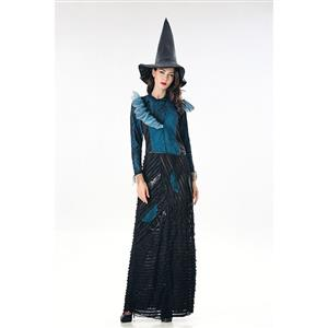 Fashion Black Witch Ruffle Maxi Dress Adult Halloween Cosplay Costume N18010