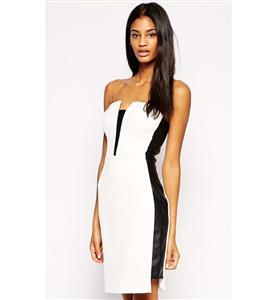 Fashion Ladies Dress, Cheap Black and White Bodycon Dress, Sexy Asymmetry Length Dress, #N10182