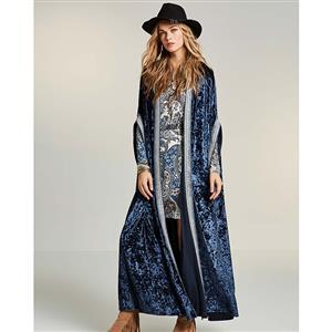 Fashion Solid Color Cardigan for Women, Batwing Sleeve Blue Maxi Cardigan, Retro Embroider Long Cardigan, Women
