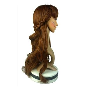 Fashion Brown Long Curly Wig,Brown Straight Bangs Long Wig, Sexy Masquerade Curly Hair Wig, Fashion Party Long Curly Wig, Long Curly Hair Cosplay Wig, Long Curly Hair With Braids, #MS20903