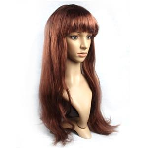 Fashion Brown Long Straight Wig, Brown Straight Bangs Long Wig, Sexy Masquerade Straight Hair Wig, Fashion Party Long Straight Wig, Long Straight Hair Cosplay Wig, #MS16122