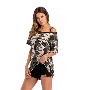 Camouflage Blouse,Round Neck Casual Blouse,Casual Short Sleeve Blouse, Mid-length Blouses,Women Casual Blouse,Fashion T-shirt,Off-shoulder T-shirt, #N20474