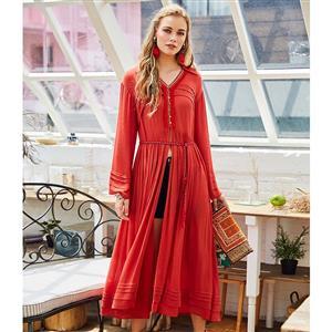 Fashion Red Pleated Maxi Dress for Women, Long Sleeve Pullover Long Dress, High Slit Long Sleeve Lapel Dress, Women
