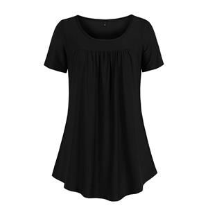 Solid Color Blouse,Round Neck Casual Blouse,Casual Short Blouse, Women Casual Blouse,Fashion Tops, #N19101