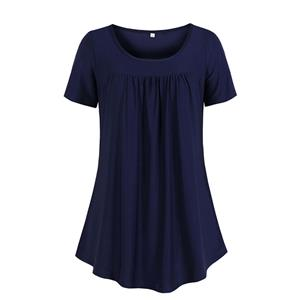 Solid Color Blouse,Round Neck Casual Blouse,Casual Short Blouse, Women Casual Blouse,Fashion Blouse,Loose Blouse,Short-Sleeve Blouse, #N19115