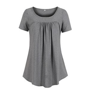 Solid Color Blouse,Round Neck Casual Blouse,Casual Short Blouse, Women Casual Blouse,Fashion Blouse,Loose Blouse,Short-Sleeve Blouse, #N19116