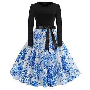Fashion Dress for Women,Christmas Dresses for Women,Casual A-line Dress,Long Sleeves High Waist Swing Dress,Blue Snowflake Printed Dress,Christmas Party Dress,Round-neck Belt Big Swing Dress,#N19634