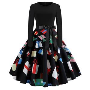 Fashion Dress for Women,Christmas Dresses for Women,Casual A-line Dress,Long Sleeves High Waist Swing Dress,Gift Box Pattern Dress,Christmas Party Dress,Round-neck Belt Big Swing Dress,#N19635