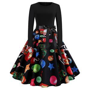 Fashion Dress for Women,Christmas Dresses for Women,Casual Midi Dress,Long Sleeves High Waist Swing Dress,Christmas Cartoon Pattern Dress,Christmas Party Dress,Round-neck Belt Big Swing Dress,#N19636