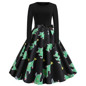 Vintage Dress for Women Christmas Tree, Christmas Dresses for Women Cocktail Party, Casual Swing Dress, Long Sleeves High Waist Swing Dress, Christmas Tree Print Dress, Christmas Party Dress, #N19631