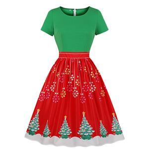 Fashion Christmas Tree and Snowflake Print Round Neckline Short Sleeve Swing Dress N19939