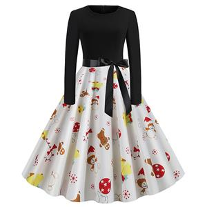 Vintage Dress for Women Gingerbread, Christmas Dresses for Women Cocktail Party, Casual Swing Dress, Long Sleeves High Waist Swing Dress, Christmas Gingerbread Print Dress, Christmas Party Dress, #N19628