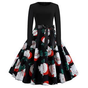 Fashion Dress for Women,Christmas Dresses for Women,Casual Midi Dress,Long Sleeves High Waist Swing Dress,Santa Claus Pattern Dress,Christmas Party Dress,Round-neck Belt Big Swing Dress,#N19637