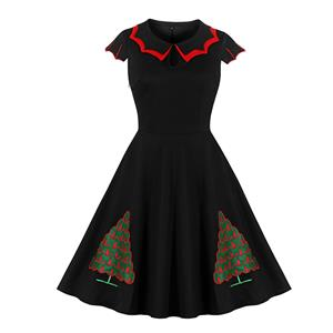 Vintage Dress for Women Christmas Gift, Christmas Dresses for Women Cocktail Party, Casual Swing Dress, Long Sleeves High Waist Swing Dress, Christmas Tree Print Dress, Christmas Party Dress, #N20049