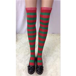 Cute Christmas Stockings, Sexy Thigh Highs Stockings, Red and Green Stripes Cosplay Stockings, Anime Thigh High Stockings, Christmas Red and Green Stripes Stockings, Stretchy Nightclub Knee Stockings, #HG18527