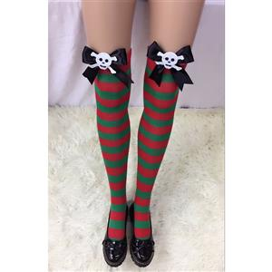 Cute Christmas Stockings, Sexy Thigh Highs Stockings, Red and Green Stripes Cosplay Stockings, Anime Thigh High Stockings, Christmas Red and Green Stripes Stockings, Stretchy Nightclub Knee Stockings, #HG18532